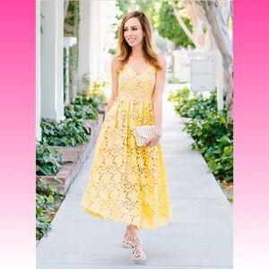 H&M Midi Yellow Lace Crochet Portrait Dress size 6